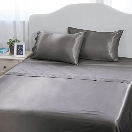 4 Piece Cool Satin Bed Sheet Set Queen Gray Smooth And Silky With Deep  Pocket