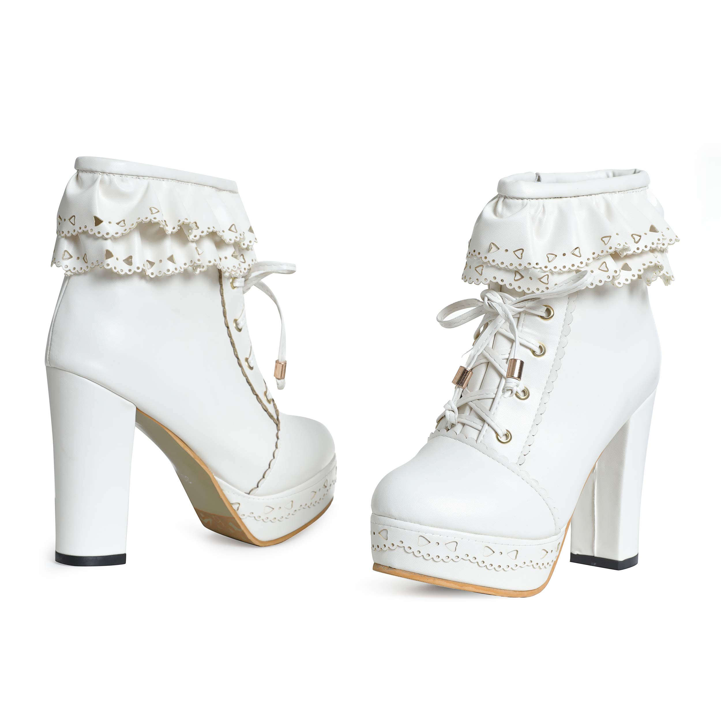 0b0e858f6509c Susanny Womens Office Party Sweet Lolita Platform Chunky High Heel PU Lace  up White Ankle Boots 8 B (M) US