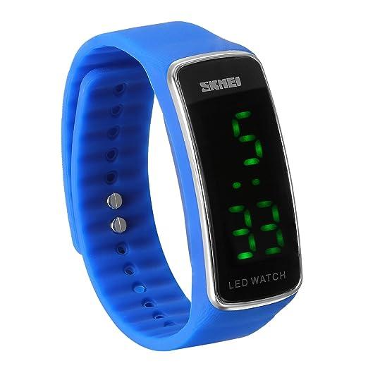 JewelryWe Reloj LED Deportivo Digital Azul Reloj de Pulsera Para Hombre Mujer, Relojes para Parejas Enamorados Buen Regalo para Navidad/Cumpleaños: ...