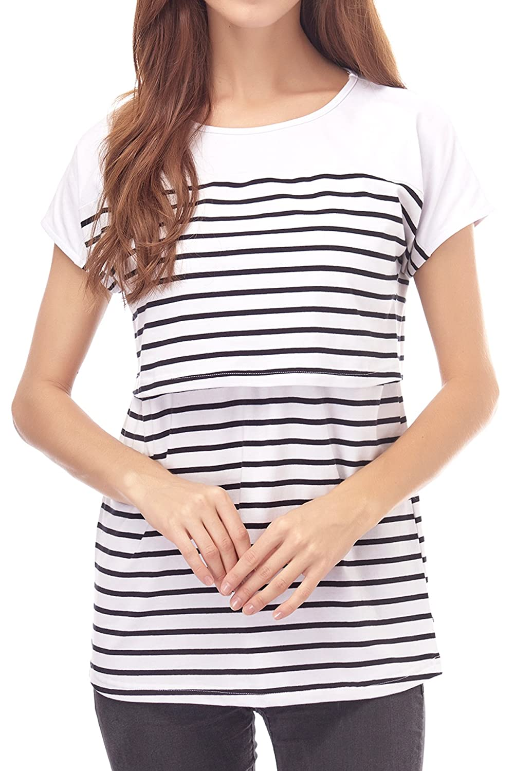 Smallshow Womens Maternity Nursing Tops Striped Breastfeeding T-Shirt