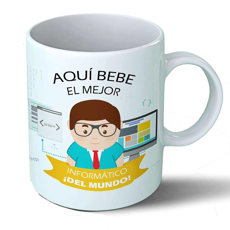 Planetacase Taza Desayuno Aquí Bebe el Mejor informático del Mundo Regalo Original informáticos Ceramica 330 ML: Amazon.es: Hogar