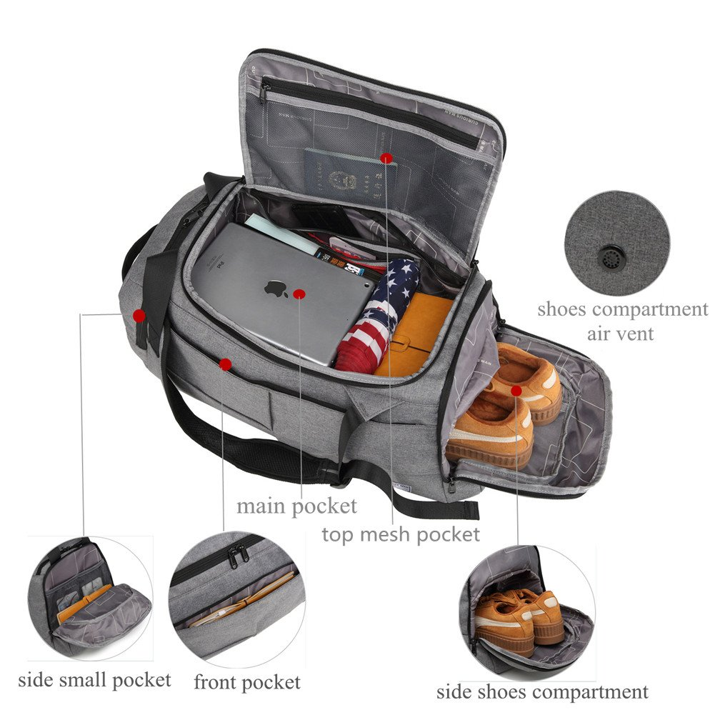 KEYNEW 55L Waterproof Duffel Sports Gym Bag for Men Women with Shoes Compartment by KEYNEW (Image #4)