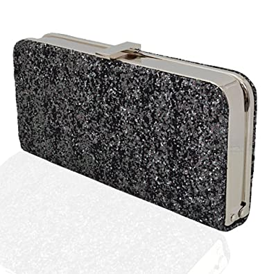 WOMENS GLITTER CLUTCH BAG SPARKLY SILVER GOLD BLACK EVENING BRIDAL ...