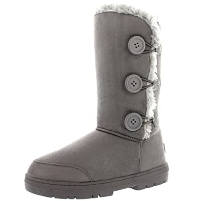 Women's Twin Button Fully Fur Lined Waterproof Pu Leather Winter Snow Classic Boots