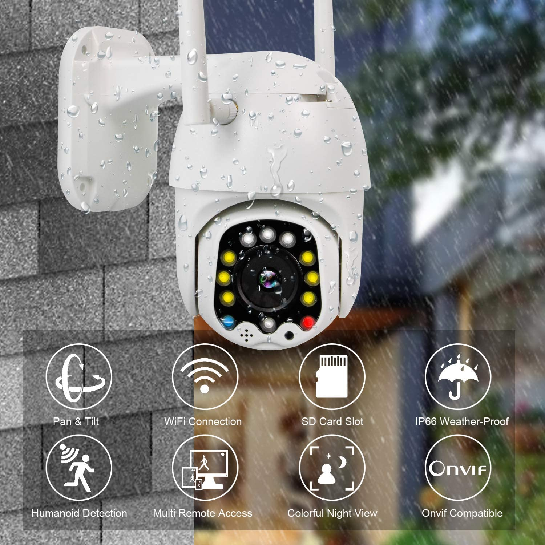 PTZ Camara Vigilancia Visi/ón Nocturna Camara WiFi Exterior Impermeable IP66 con Audio de Dos V/ías 320/° Pan//110/° Tilt Detecci/ón de Movimiento Notificaci/ón de Alarma