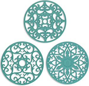 ME.FAN 3 Set Silicone Multi-Use Intricately Carved Trivet Mat - Insulated Flexible Durable Non Slip Coasters (Teal Blue)