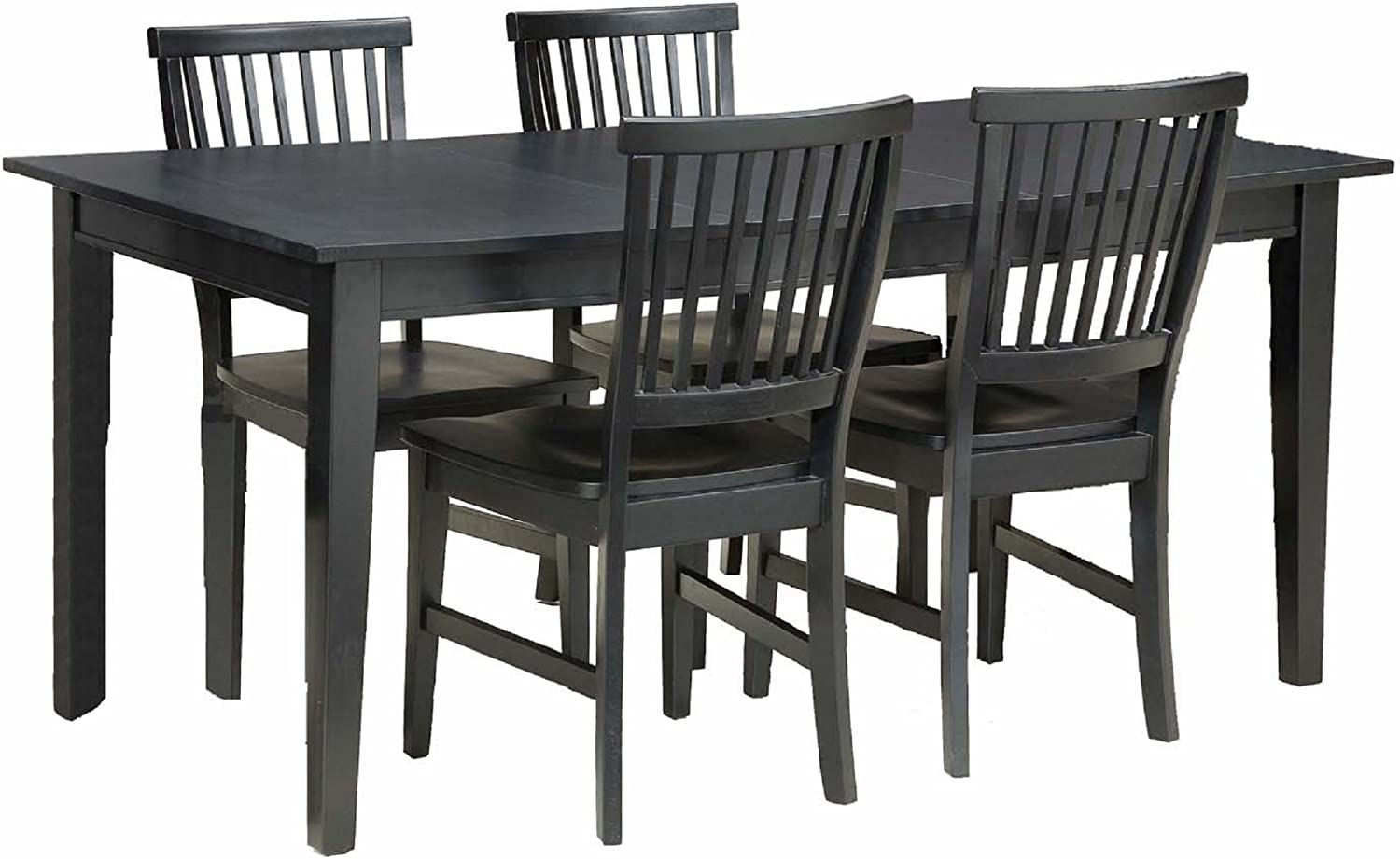 Home Styles Arts and Crafts Black Five-piece Rectangular Dining Set with Four Chairs, Multi-step Black Finish, and Solid Hardwood Construction