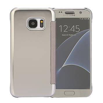 CICMOD Funda Carcasa para Samsung Galaxy S7 [Vista Clara] Ultra Delgado Espejo Protectivo para Samsung Galaxy S7 Plata