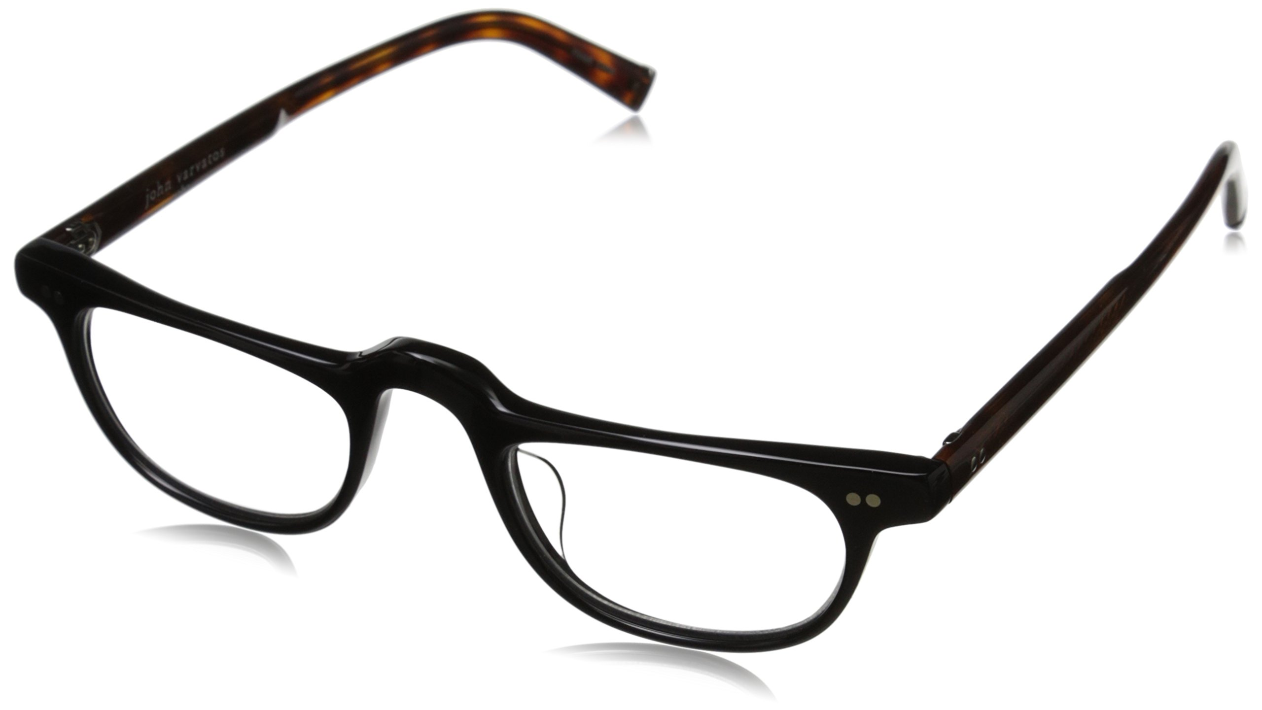 John Varvatos Men's V804 Rectangular Reading Glasses, Black UF, 1