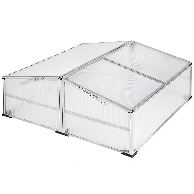 TecTake Alu Frühbeet Frühbeetkasten Pflanzbeet | arretierbares Dach | witterungsbeständig - diverse Modelle (Modell 1 | Nr. 402340)