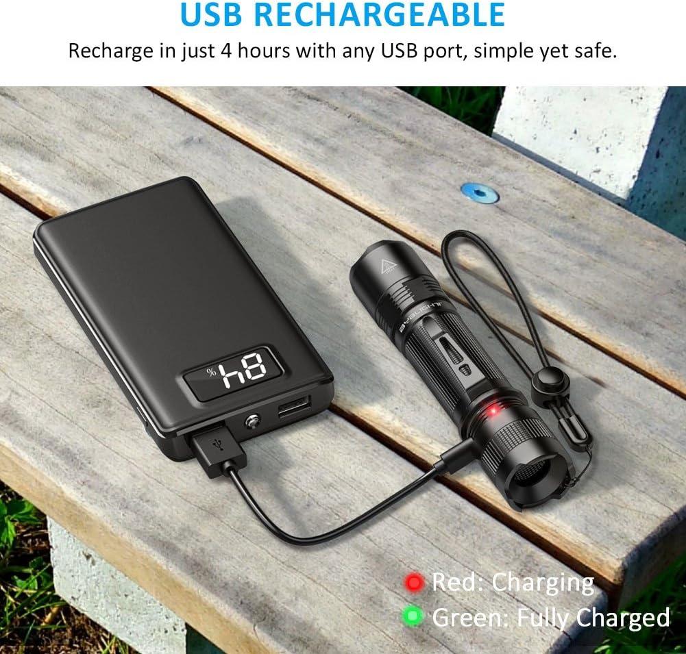 USB AUFLADBAR HOCHLEISTUNG CREE XPG2 S3 Chip Professionelle Hochwertige usb Wiederaufladbar IP67 Wasserdicht 1000 Lumen BYBLIGHT F18 Taktische LED Taschenlampe 5 Licht-Modi mit Memory Funktion