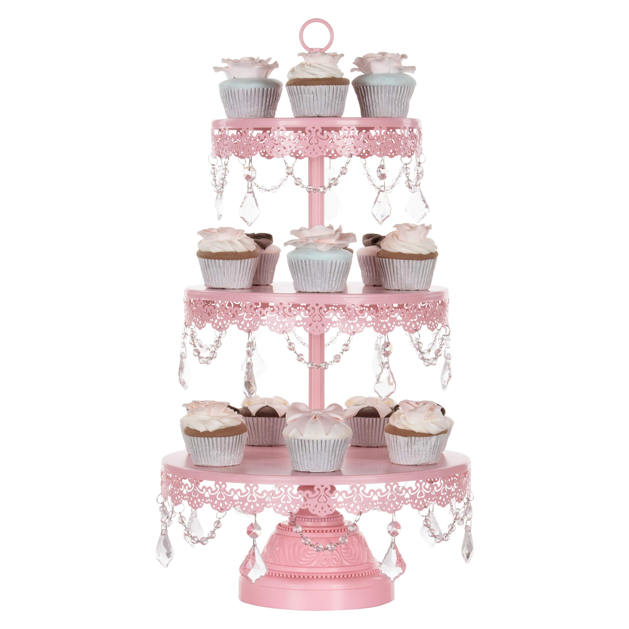 Amalfi Décor 3 Tier Dessert Cupcake Stand, Chic Glass Crystal Draped Metal Display Tower for Weddings Events Birthdays Party Plate Pedestal, Sophia Collection (Pink) by Amalfi Décor (Image #2)