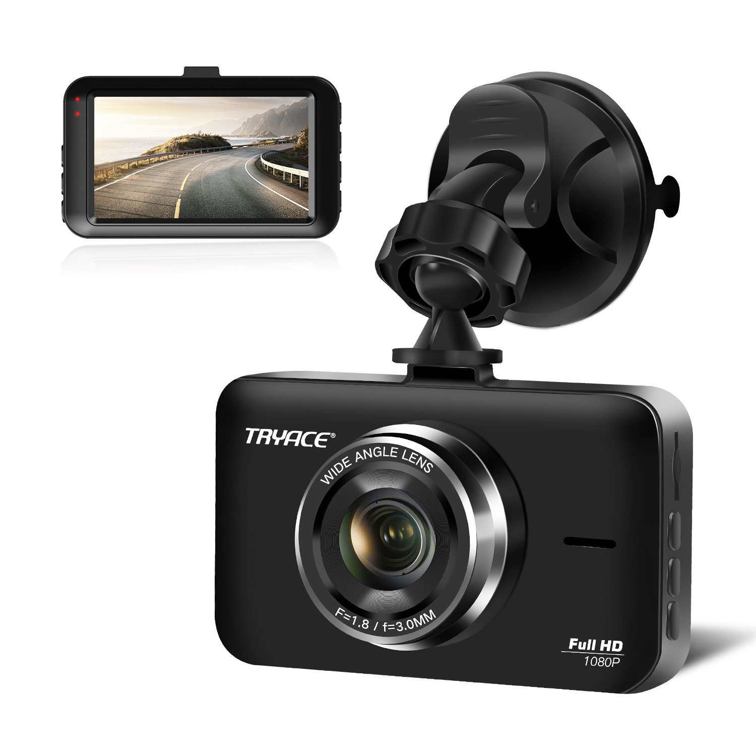 TryAce Dash Cam, 3'' LCD FHD 1080P Wide Angle Dashboard Camera Recorder with G-Sensor,Parking Monitor, WDR, Loop Recording(B7 Upgraded)