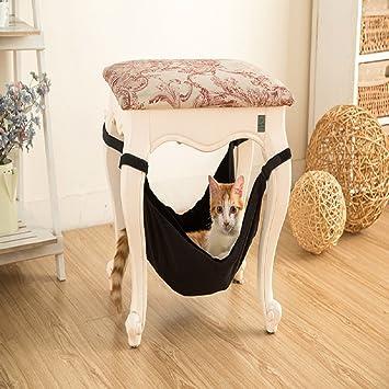 General Cama de Hamaca para Gatos - Suave y Cómoda Hamaca de Mascota con Silla para Gatito, Hurón, Perrito o Mascota (Negro): Amazon.es: Hogar