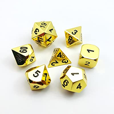 Set of 7 Deluxe Metal Golden Polyhedral Game Dice Set, Golden RPG Game Dice 7pcs Set of d4 d6 d8 d10 d12 d20 d%: Toys & Games