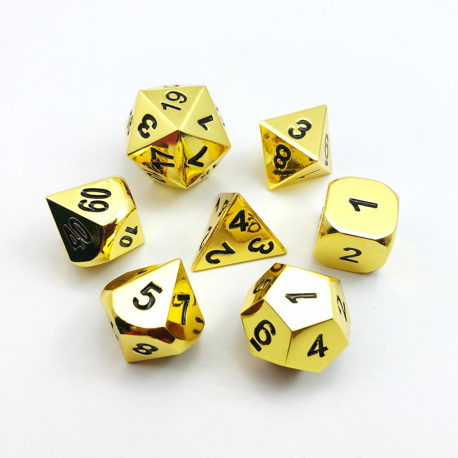 Set of 7 Deluxe Metal Golden Polyhedral Game Dice Set, Golden RPG Game Dice 7pcs Set of d4 d6 d8 d10 d12 d20 d%