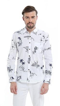 0f4b8e3e Hawaii Hangover Men's Hawaiian Long Sleeve Fit Shirt Aloha Shirt Classic  White at Amazon Men's Clothing store: