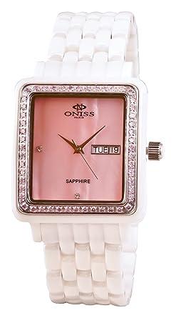 Amazon.com: Oniss Paris ON7700-LWT/PK/PK - Reloj de pulsera ...