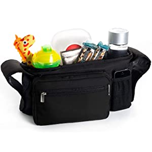 Portable Pram Organiser, Stroller Bag, Pushchair Organizer - Cup Holders, Stores Bottles, Keys, Diapers, Cell Phone, Wallet - Multi Function Organizer Bag for Phil&Teds Dash Pushchair