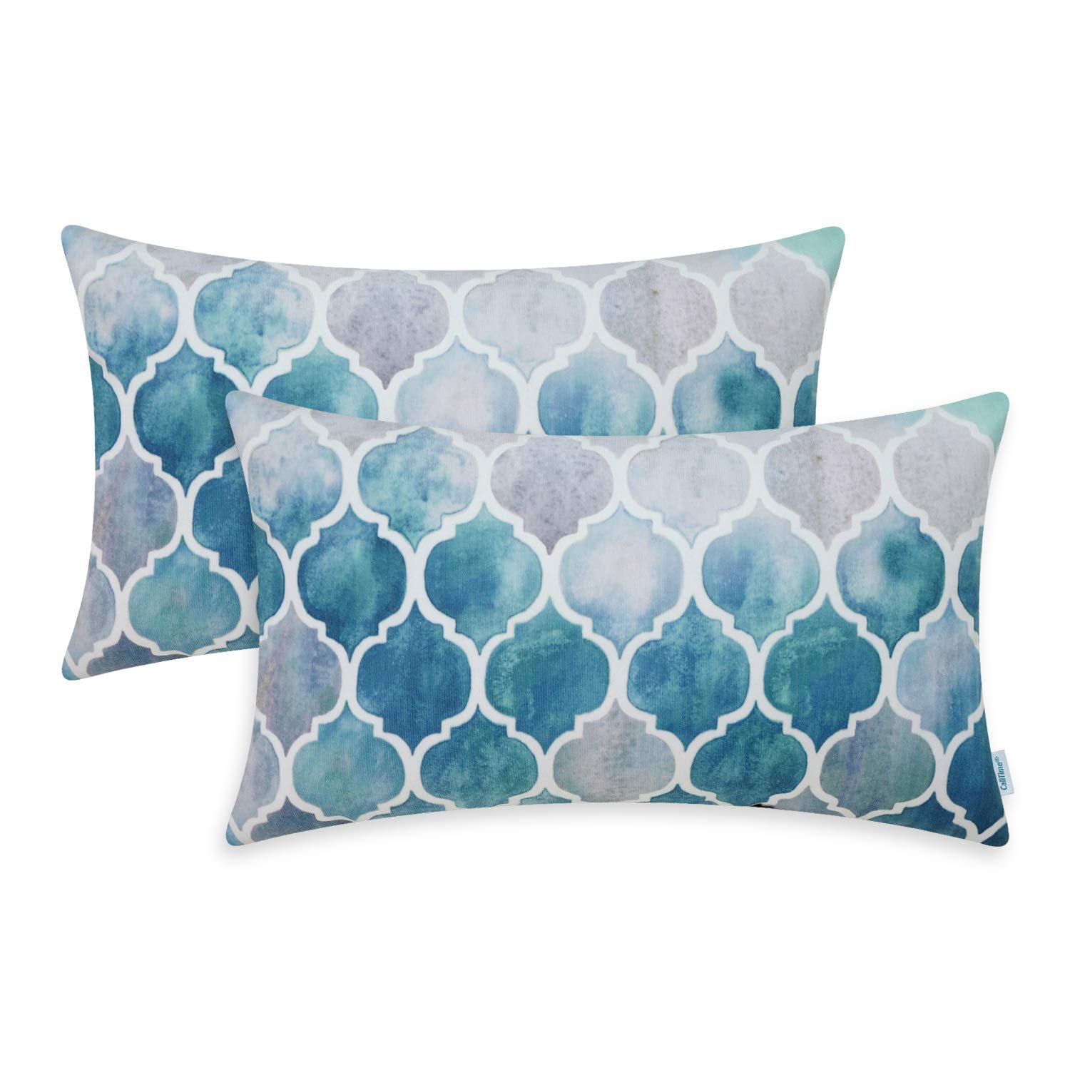 Square Pillow Shell Cushion Covers Manual Hand Painted Colorful Geometric Chains