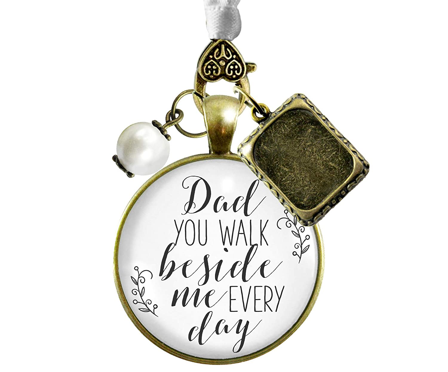 Bridal Bouquet Charm Dad You Walk Beside Me White Wedding Pendant Father Memorial Remembrance Photo Jewelry