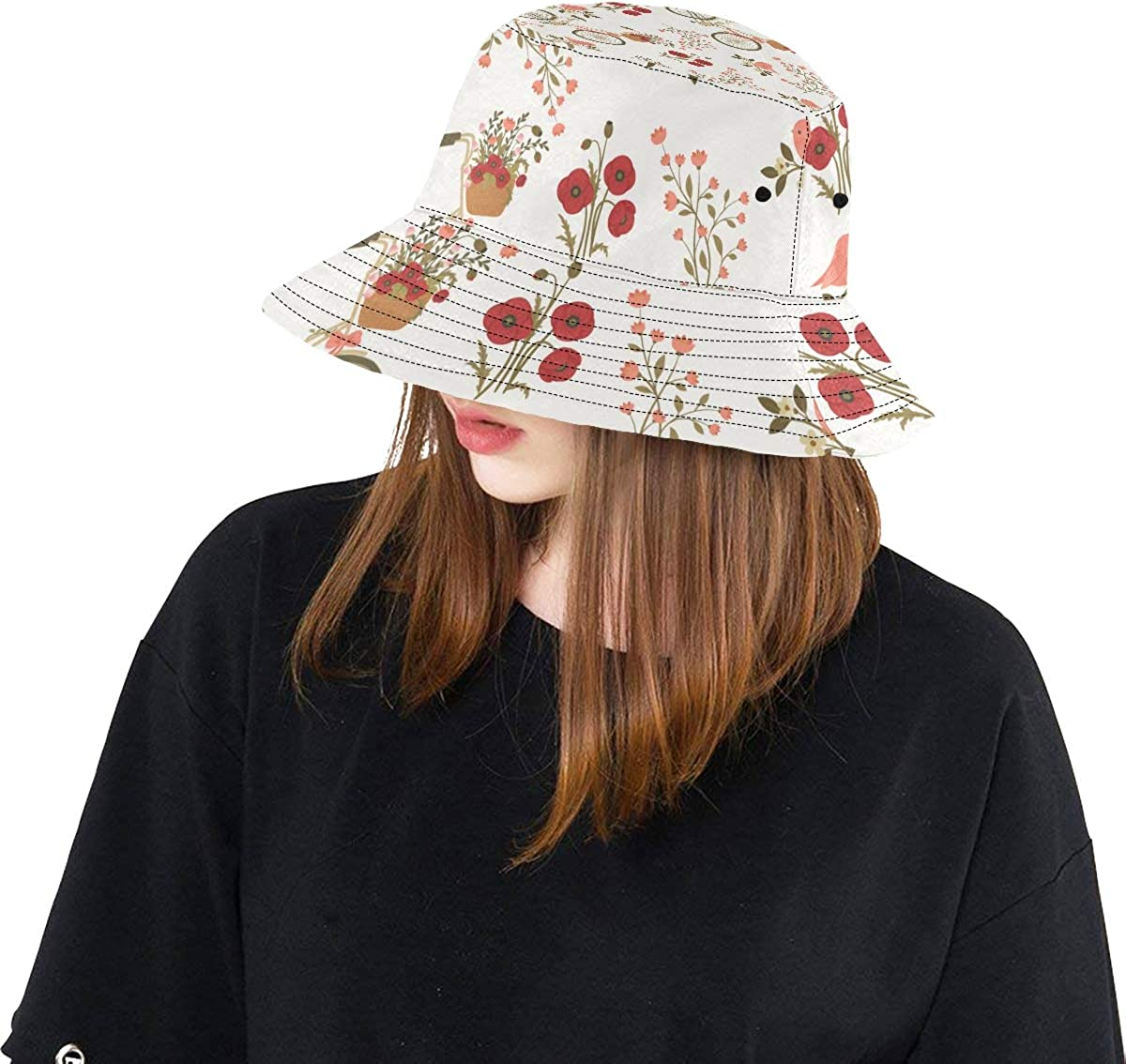 Bicycle Around Flower Summer Unisex Fishing Sun Top Bucket Hats for Kid Teens Women and Men with Packable Fisherman Cap for Outdoor Baseball Sport Picnic