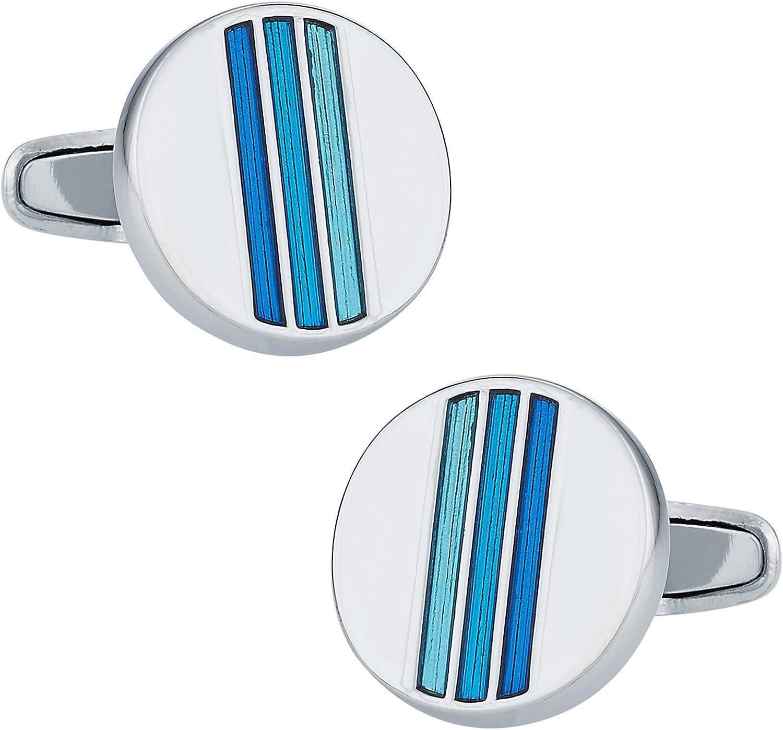 Cuff-Daddy Trendy Tonal Blue Enamel Round Silver Cufflinks with Presentation Box