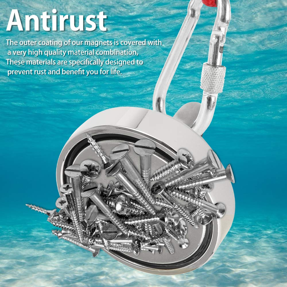 Magnet Fishing Kit with Rope 440LB Super Pull 200KG Diameter 60mm Pull Round Neodymium Alloy Ring Fishing Magnet Can Be Used for Fishing and Fishing in The River Magnet