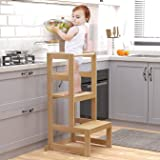 AMBIRD Toddler Step Stool, 3 Adjustable Height Kitchen Step Stool for 18-48 Months Kids, Wooden Toddler Kitchen Stool with Ra