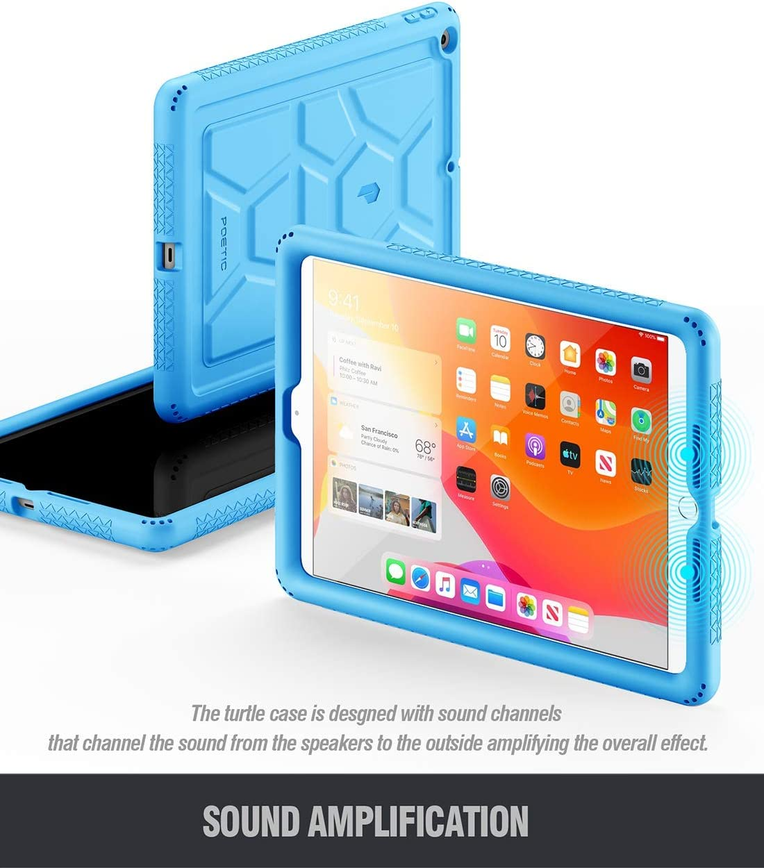 for Apple iPad 10.2 inch 7th Generation, 2019 Release Black iPad 10.2 2019 Tablet Case TurtleSkin Series Poetic Heavy Duty Shockproof Kids Friendly Silicone Case Cover