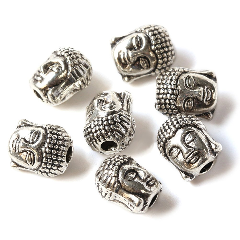Argento Tibetano ULTNICE 20 Pz 10x9mm Buddha Bifronte Piccolo Spirituale Perline di Metallo Distanziatore per Monili Che Fanno Braccialetto