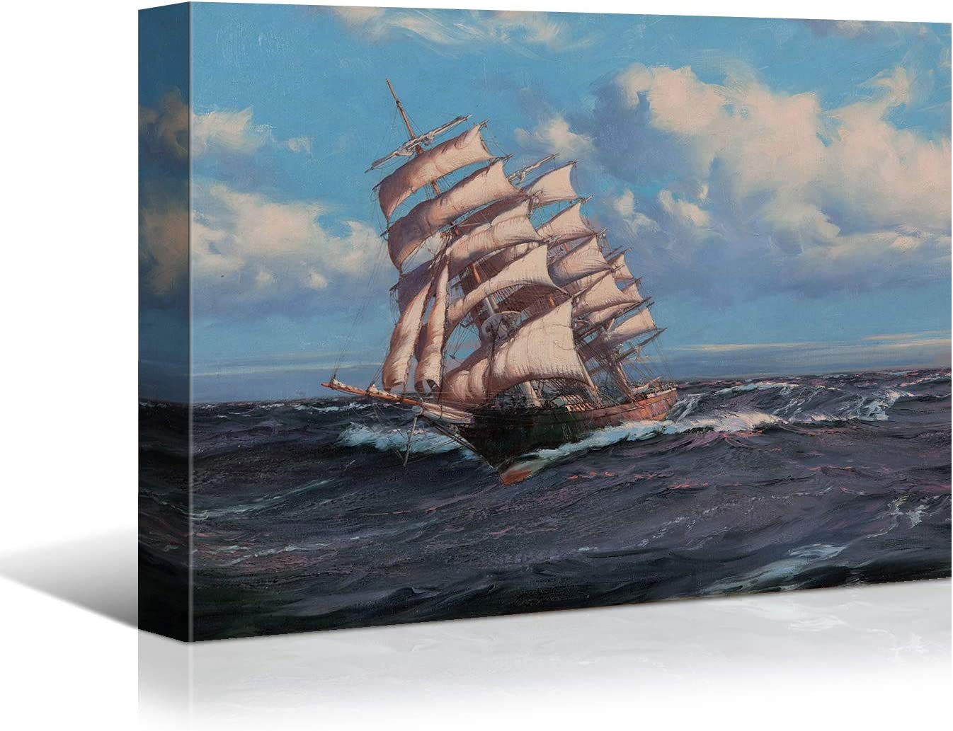 Looife Ocean Theme Canvas Wall Art, 40x30 Inch Sailboats on Blue Stormy Sea Picture Prints Wall Decor, Sailing Ship Painting Deco for Living Room, Bedroom, Bathroom and Hotel, Ready to Hang