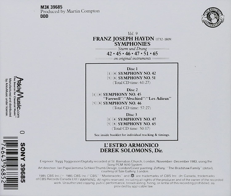 Franz Joseph Haydn, Derek Solomons, LEstro Armonico - Haydn: Symphonies Nos. 42, 45: Farewell, 46, 47, 51, 65, Vol. 9 - Amazon.com Music