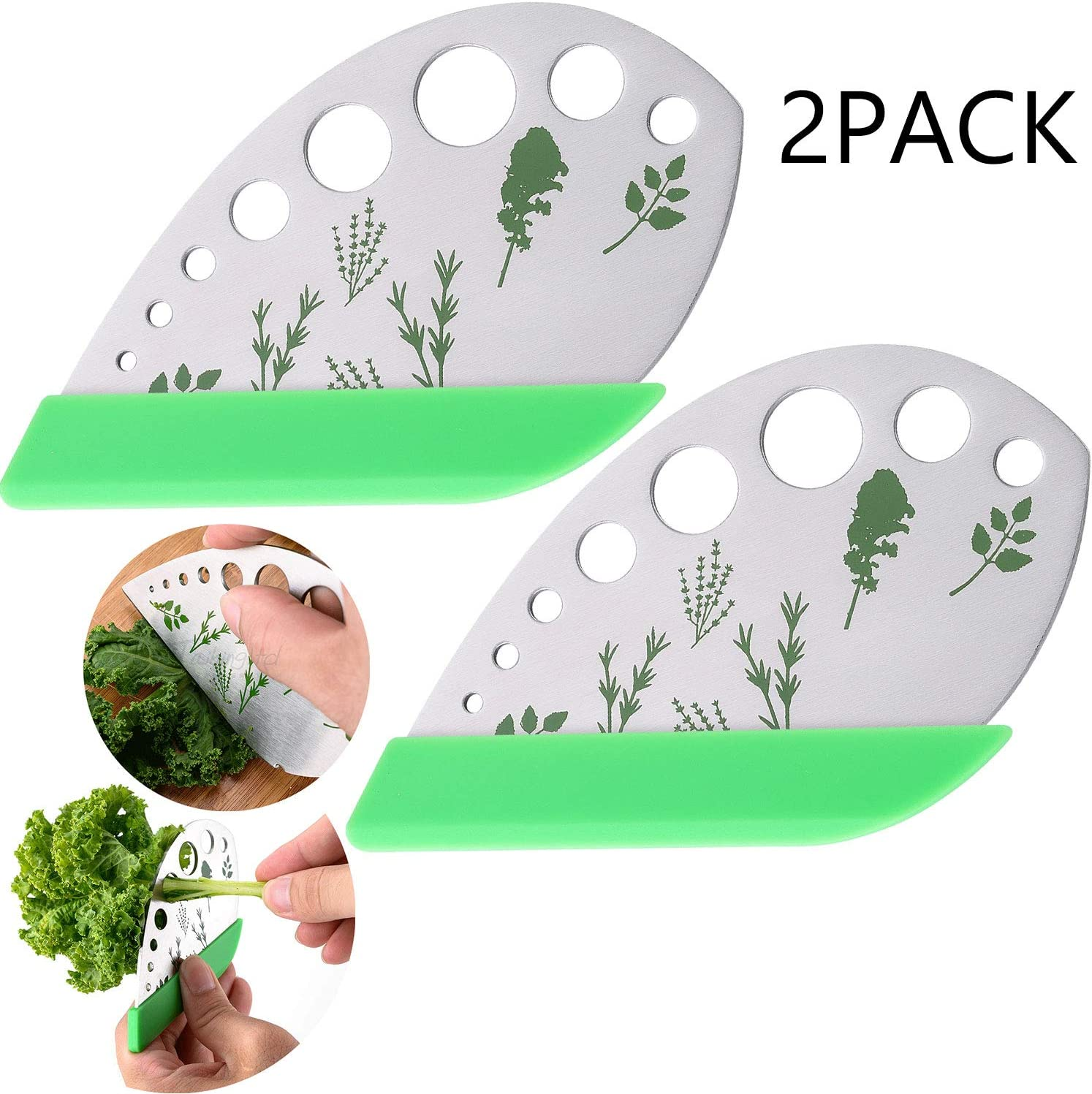 9holes 2 pack Chard Rosemary Basil Leaf Herb Stripper Thyme 2 in 1 design with Blade Collard Greens Stainless Steel Kitchen Herb Leaf Stripping Tool for Kale