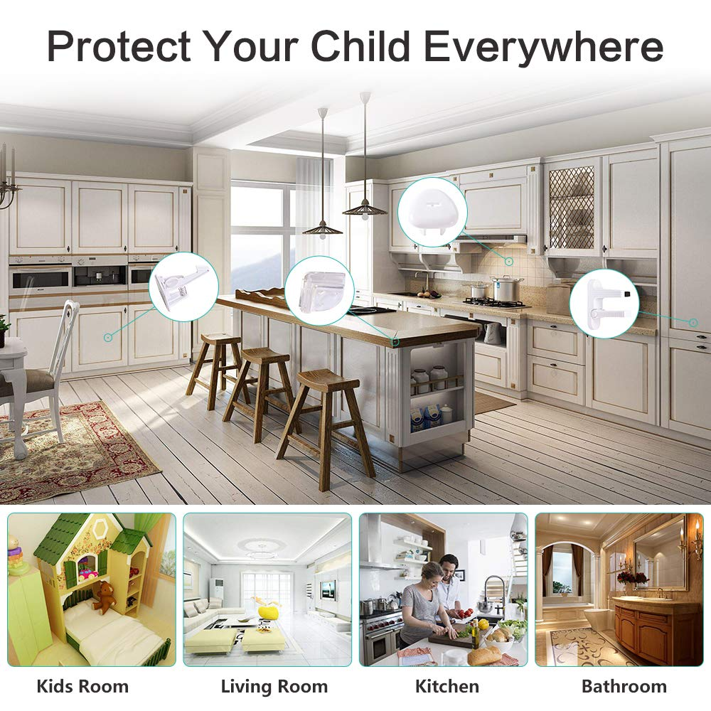 4 Pack Corner Protectors Baby Proof Set 6 Pack Cabinet Locks 2 Pack Door Lever Lock 6 Pack Outlet Plug Covers with 2 Key Child Safety Locks Kit