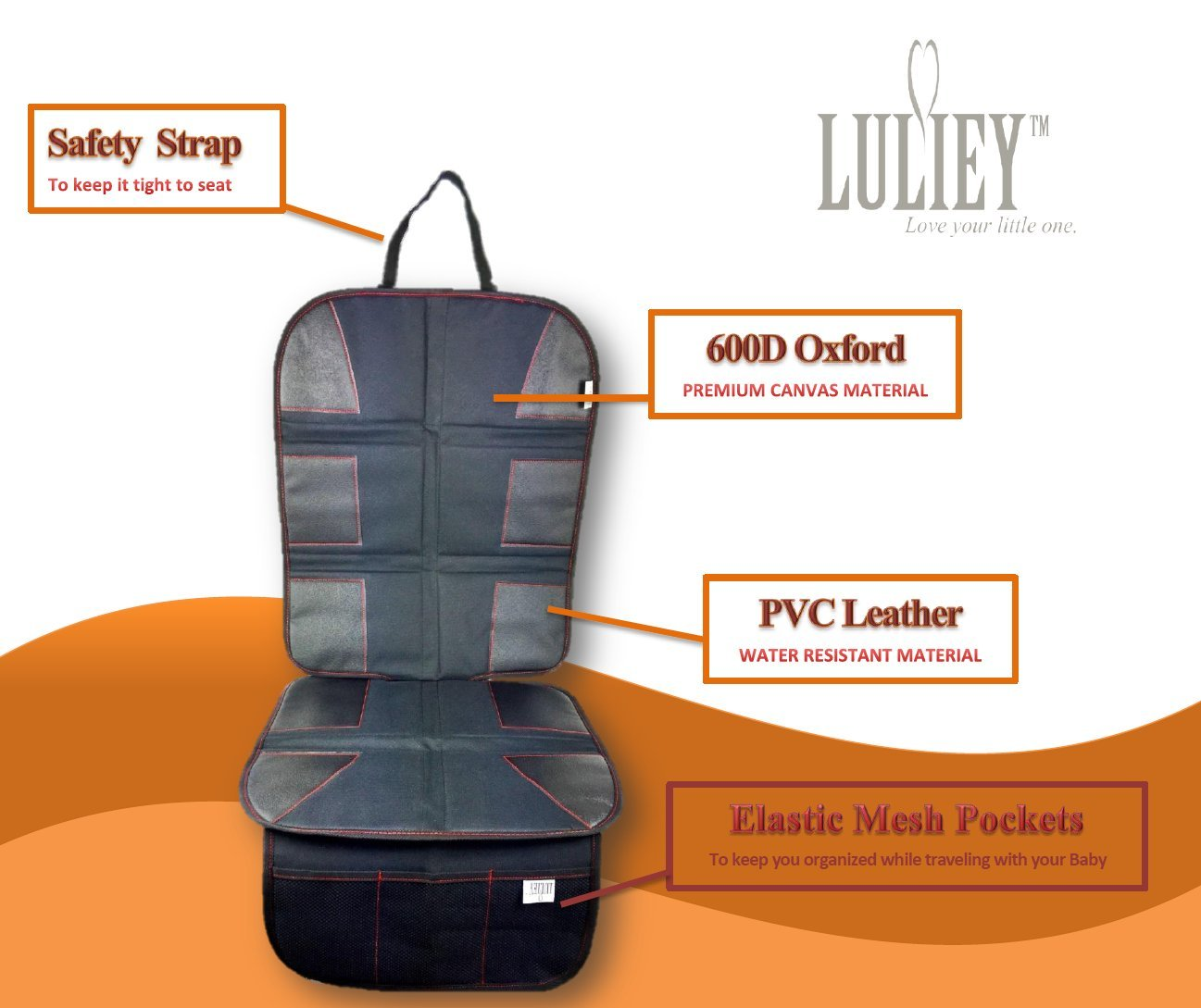 PREMIUM OXFORD Luxury Car Seat Protector - Durable 600D OXFORD Material, Black Leather by Luliey (Image #4)