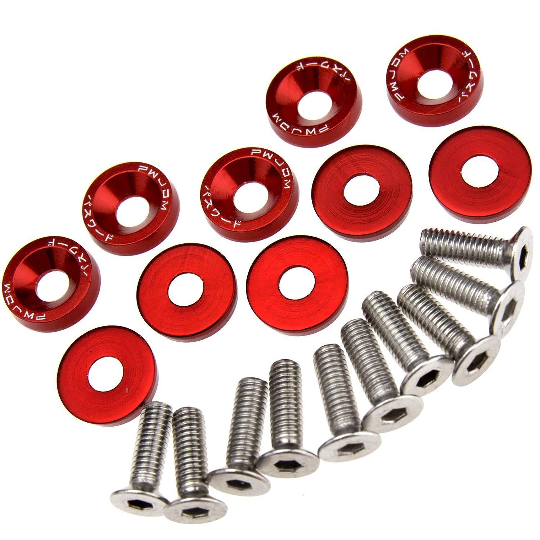 10pcs Set Fenderwasher Kotflü gelschrauben Unterlegscheibe M6 Rot Aluminum ENET