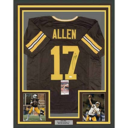 Signed Josh Allen Jersey - FRAMED 33x42 Wyoming Brown College COA ... 657ddfdc9