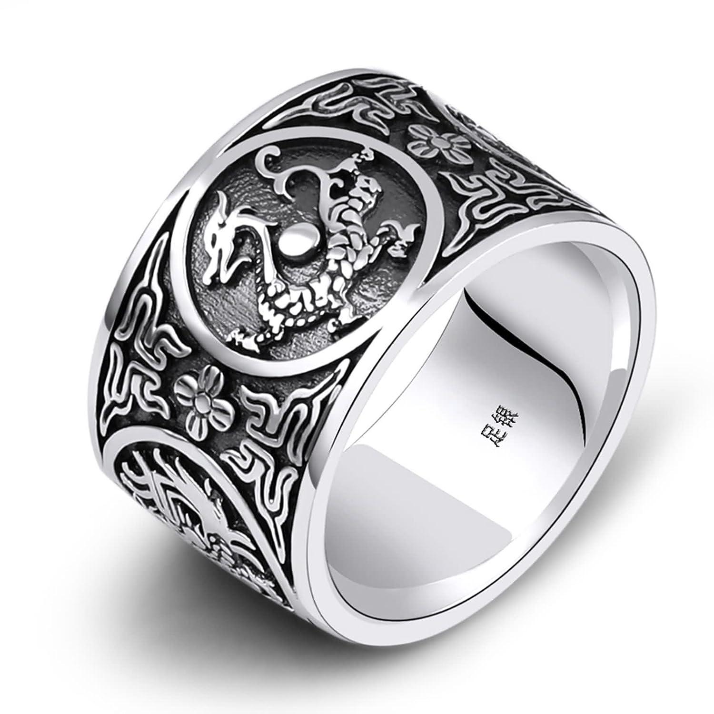 Aeici Mens Wedding Bands Ring Sterling Silver 4 Beasts Dragon Tiger Suzaku Basalt Engraved Size 815amazon: Black Wedding Bands Sterling Silver At Reisefeber.org