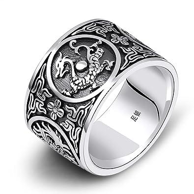 Adisaer Ring 925 Silber Band Silberring Damen Sterling Schwarz Damen