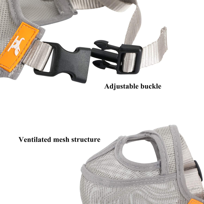 Adjustable Short Snout Dog Muzzle Mesh Mask-Stop Dog for Biting Barking Chewing XL//Black
