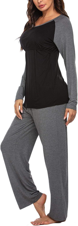 Cotton Nursing Pyjamas Sleepsuit for Pregnant Women and Breastfeeding MAXMODA Maternity Pyjamas Long Sleeves
