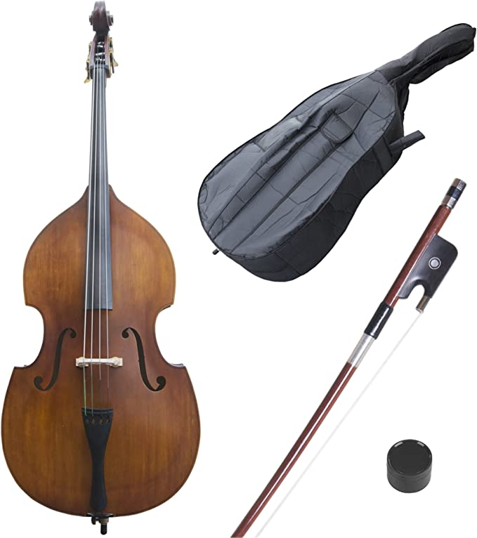 Cecilio CDB Upright Double Bass with an Adjustable Bridge, Bow, Rosin, and Gig Bag (Size 1/4, Natural-100)