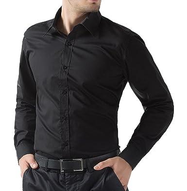 Oshano Mens Casual Black Full sleeves Button down Cotton Shirt ...