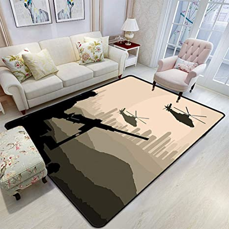 War Area Rug Army Soldier With Weapon And Armed Helicopter In Desert City Skyscraper At Sunset Yoga Mats Floor Cover For Kids Room Living Room 5 X 7 Black Kitchen