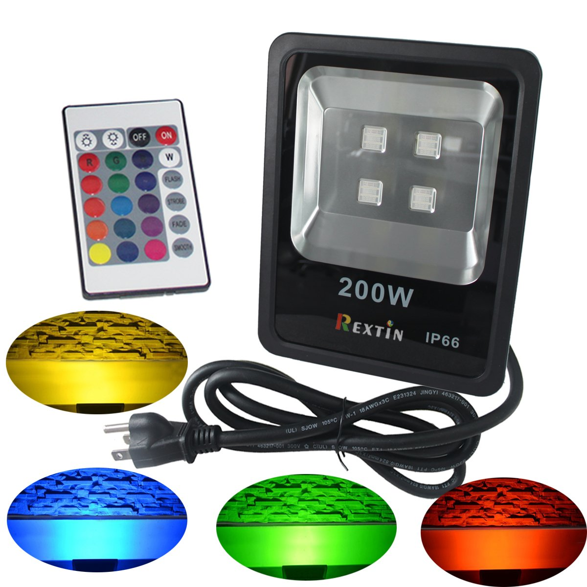 Rextin 200W Waterproof RGB LED Flood Lights Outdoor Color Changing LED securtity light with US 3 Plug , Wall Washer Light 16 Colors & 4 Modes with Remote Control (200W)