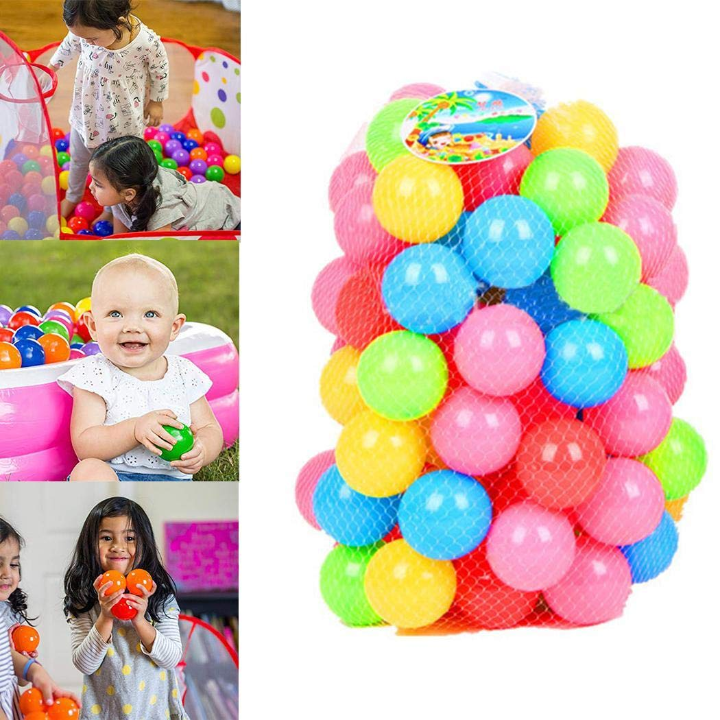 ThinIce Soft Plastic Kids Play Balls Colorful Ball – Non Toxic & BPA Free - Crush Proof & No Sharp Edges; Ideal for Baby or Toddler Ball Pit, Kiddie Pool, Indoor Playpen 50pcs