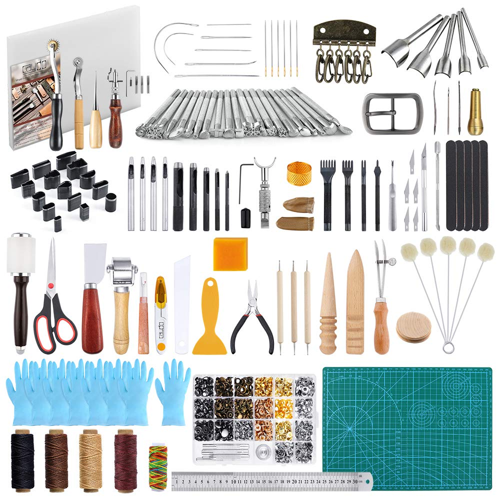 Caydo 426 Pieces Hand Leathercraft Working Tool Kit with an Instructions, Leather Working Supplies with Leather Craft Stamping Tools, Prong Punch, Hole Hollow Punch, Matting Cut for Leather Artworks