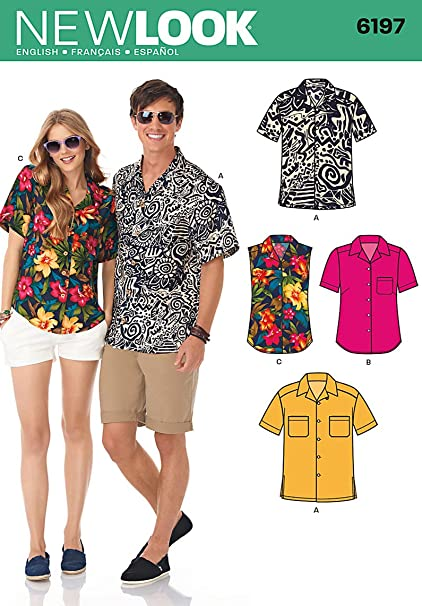 Simplicity Creative Patterns New Look 6197 Misses' and Men's Shirts, A (8-18/X-Small-X-Large)