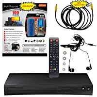 Samsung BD-J5100 Curved Blu-ray Disc Player - 5 Pack Kit - Remote Control - 3 Pc Cleaning Kit - 12 FT High speed HDMI Cable - Ear Buds (1 Year Warranty)